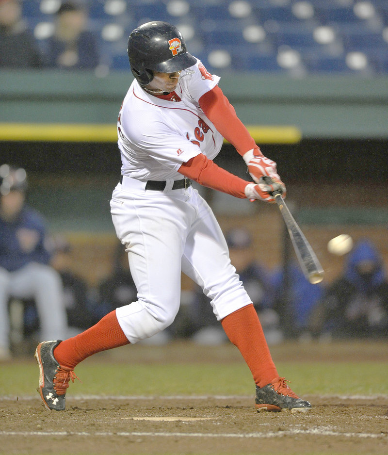 Xander Bogaerts continued his hot hitting Tuesday for the Portland Sea Dogs, including this triple in the fourth inning of a 9-8 victory against Binghamton. He has six hits in his last two games and sports a .311 batting average.