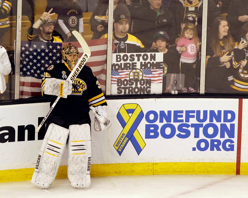 Goalie Anton Khudobin and the rest of the Bruins have received their share of support from opposing teams and fans after the Boston Marathon bombings.