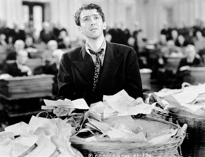 "James Stewart in ""Mr. Smith Goes to Washington,"" which depicted an idealistic use of the filibuster."