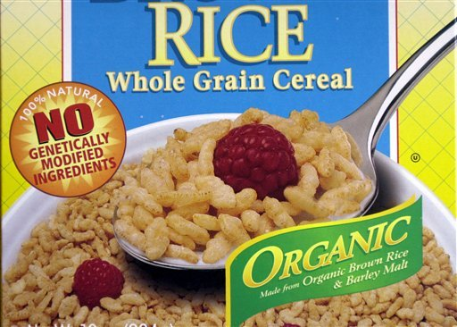 The label on a box of Erewhon Crispy Brown Rice Cereal states that the cereal contains no genetically engineered ingredients. L.D. 718, a proposal to require GMO labeling by food retailers in Maine, wouldn't make the state an outlier, because it wouldn't take effect unless five other states passed a similar mandate.