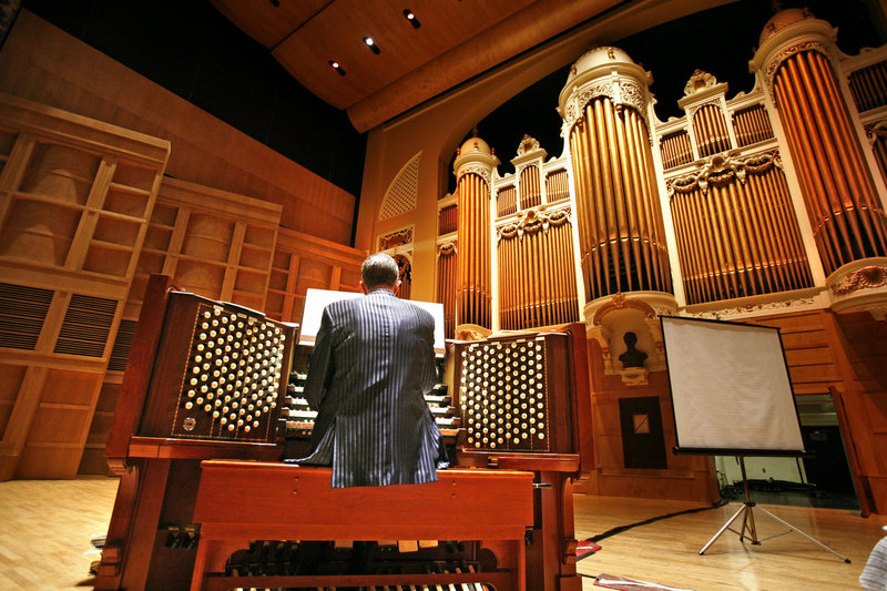Ray Cornils, Portland's municipal organist, plays the Kotzschmar Organ at Merrill Auditorium in 2009.