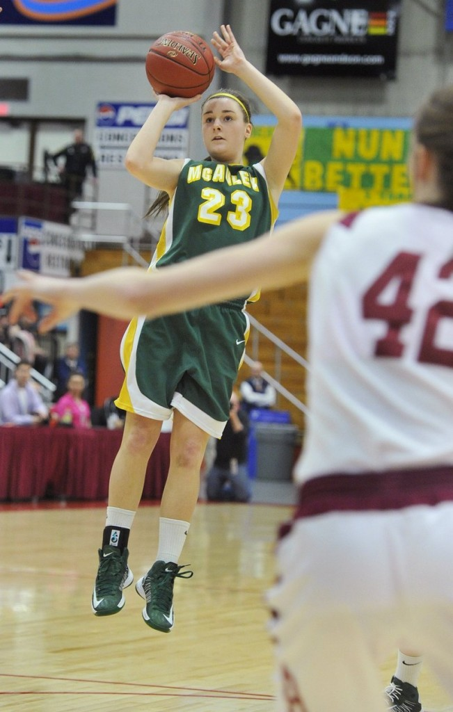 McAuley's Allie Clement pulls up for a jumper on March 2.