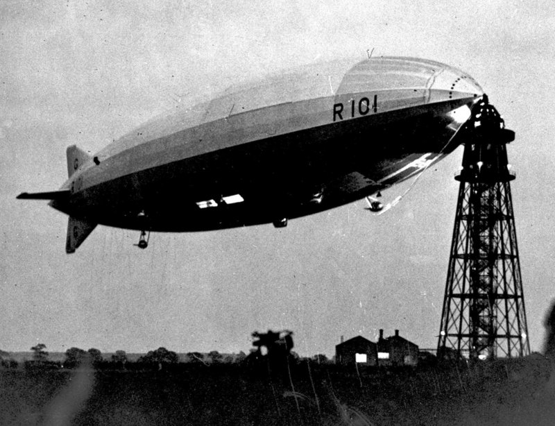 Dirigibles were in demand around 1930, when this one was photographed. A government reserve of the helium that is used to fill them is still maintained today.