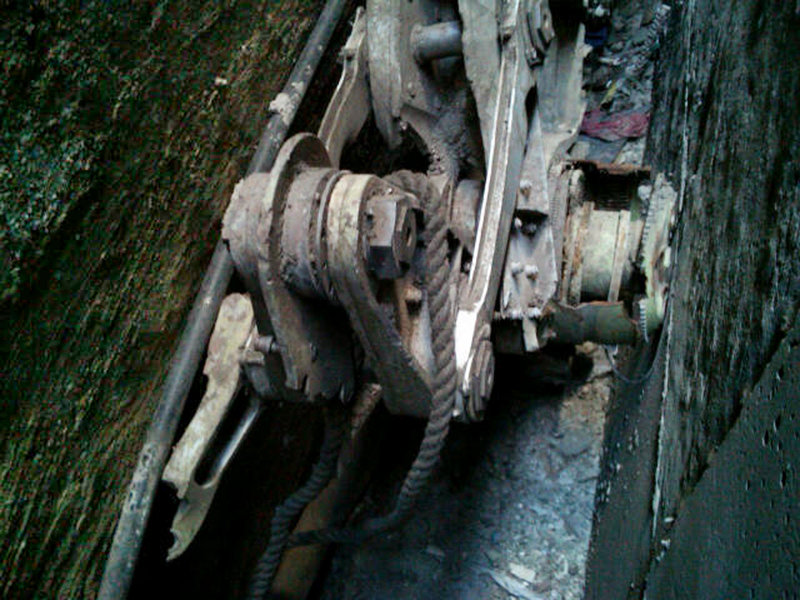 This photo shows a piece of landing gear that authorities believe belongs to one of the airliners that crashed into the World Trade Center in New York on Sept. 11, 2001.