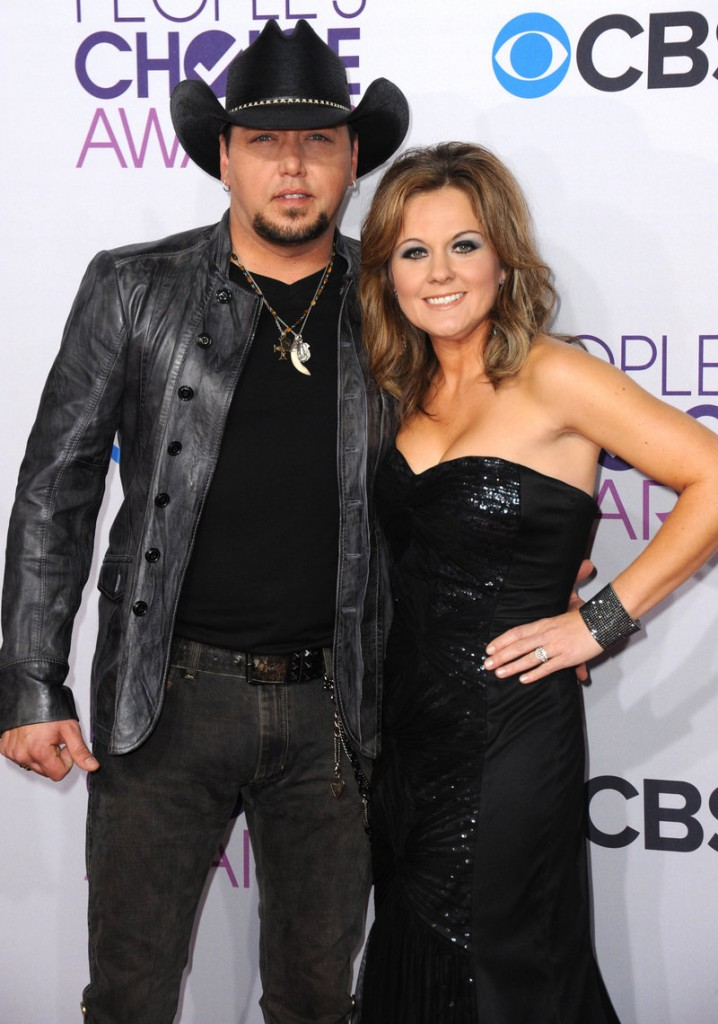 Jason Aldean and his wife, Jessica, in January