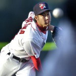 Photo by John Ewing/Staff Photographer... Thursday, April 9, 2009...Sea Dogs season opener against the Connecticut Defenders at Hadlock Field. Sea Dog starting pitcher Junichi Tazawa pitches in the first inning. Baseball