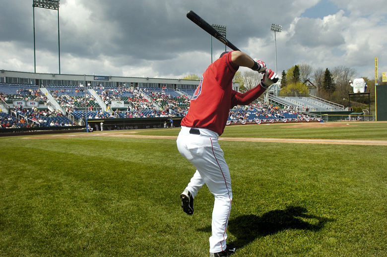 Photo by John Ewing/staff photographer April 15, 2010...Sea Dog shortstop Jose Iglesias takes some warm-up swings before the start of the season opener at Hadlock field. Baseball