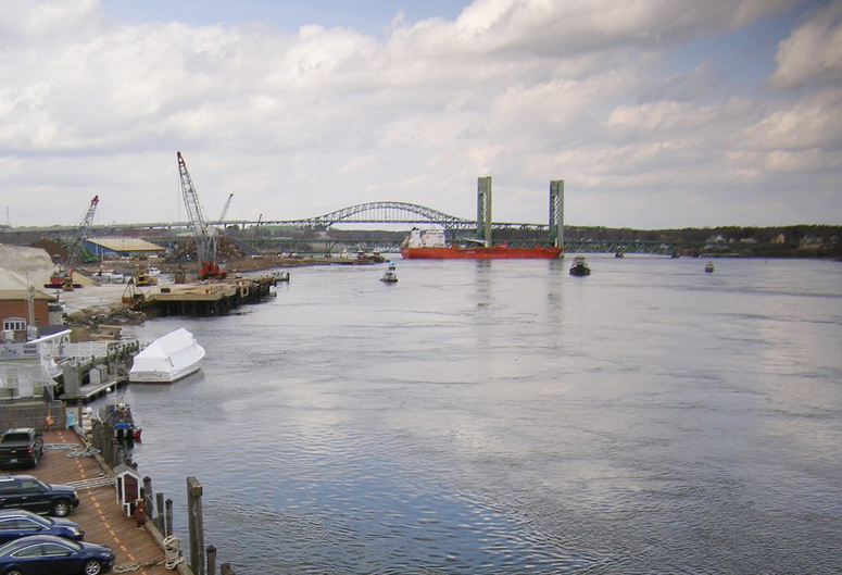 A tanker rests against the Sarah Mildred Long Bridge at 2:08 p.m. on Monday.