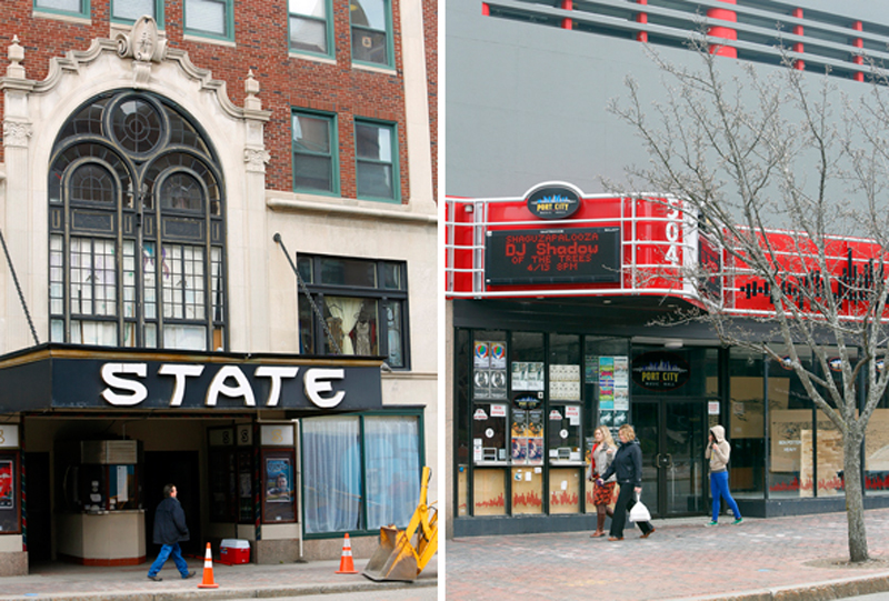 The State Theatre, with a capacity of 1,450, tends to draw more well-known performers while Port City Music Hall, right, a few blocks away on Congress Street, features up-and-coming acts in a more intimate space.