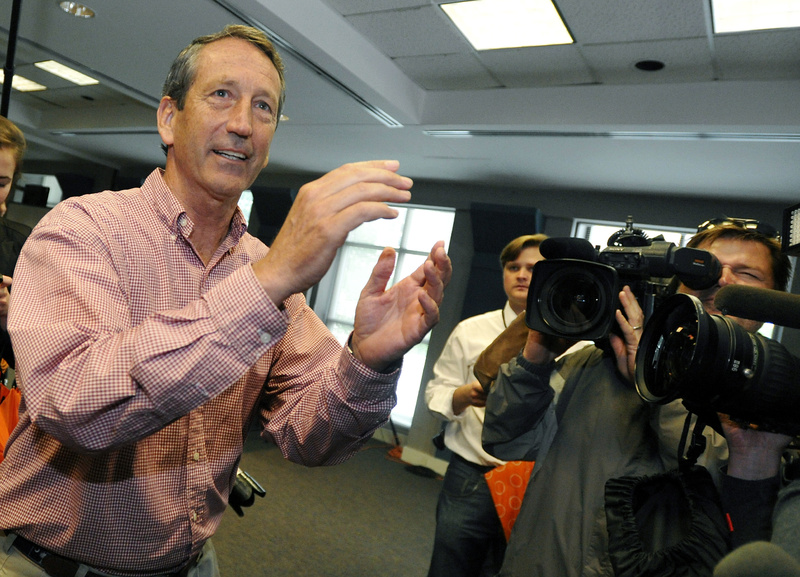 Former South Carolina Gov. Mark Sanford faces the cameras after voting at a polling place in Charleston, S.C., on Tuesday.