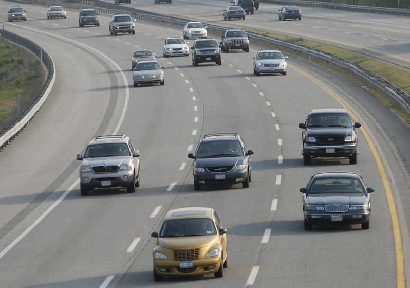 Stretches of highway in Maine, such as this section along the Maine Turnpike in Saco, could have higher speed limits under a bill approved by the Maine Senate on Tuesday.