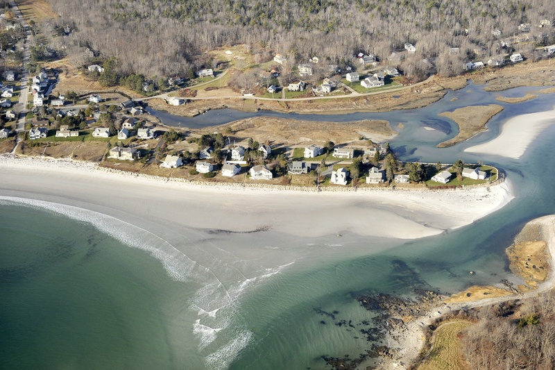 Aerial views of Goose Rocks Beach in Kennebunkport.