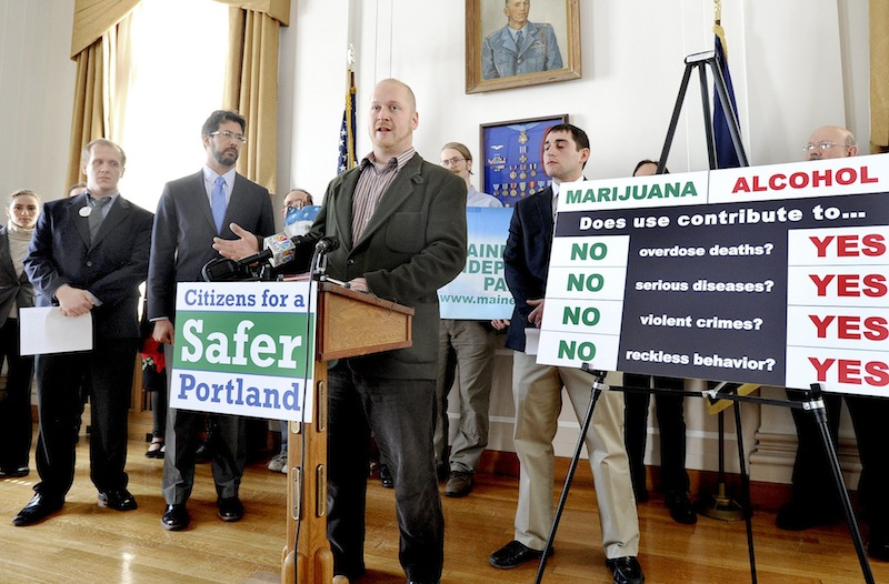 In this March 2013 file photo, Portland city councilor Dave Marshall advocates making marijuana legal in Portland during a press conference at City Hall Thursday March 21,2013. City voters will be able to decide in November if they want Portland to be among a handful of cities nationwide – and the first in Maine – to make it legal to possess small amounts of marijuana.