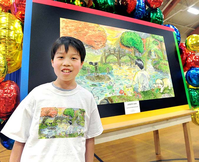 Joey Han, 14, an eighth-grade student at Falmouth Middle School, was honored as a finalist in a national contest to create the best