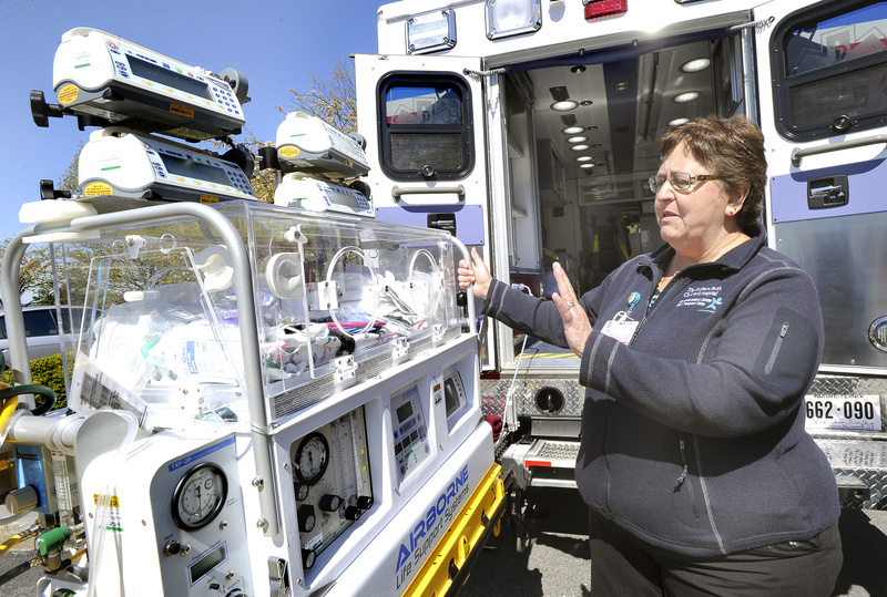 Registered nurse Sue Rainville will use this incubator for infants who are transported in a new pediatric ambulance, unveiled Tuesday at Maine Medical Center.