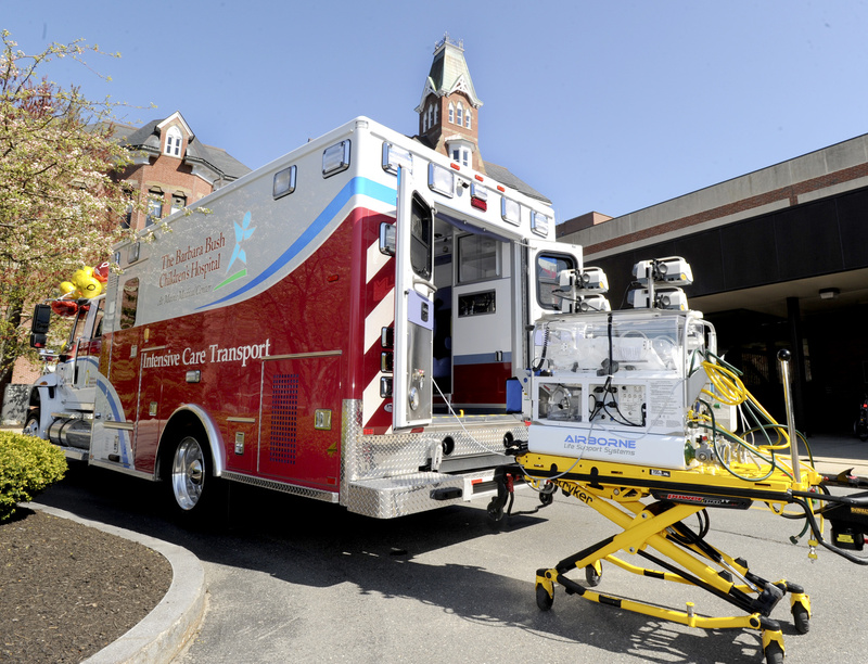 An infant transport incubator, right, is part of the new pediatric ambulance at Maine Medical Center in Portland.