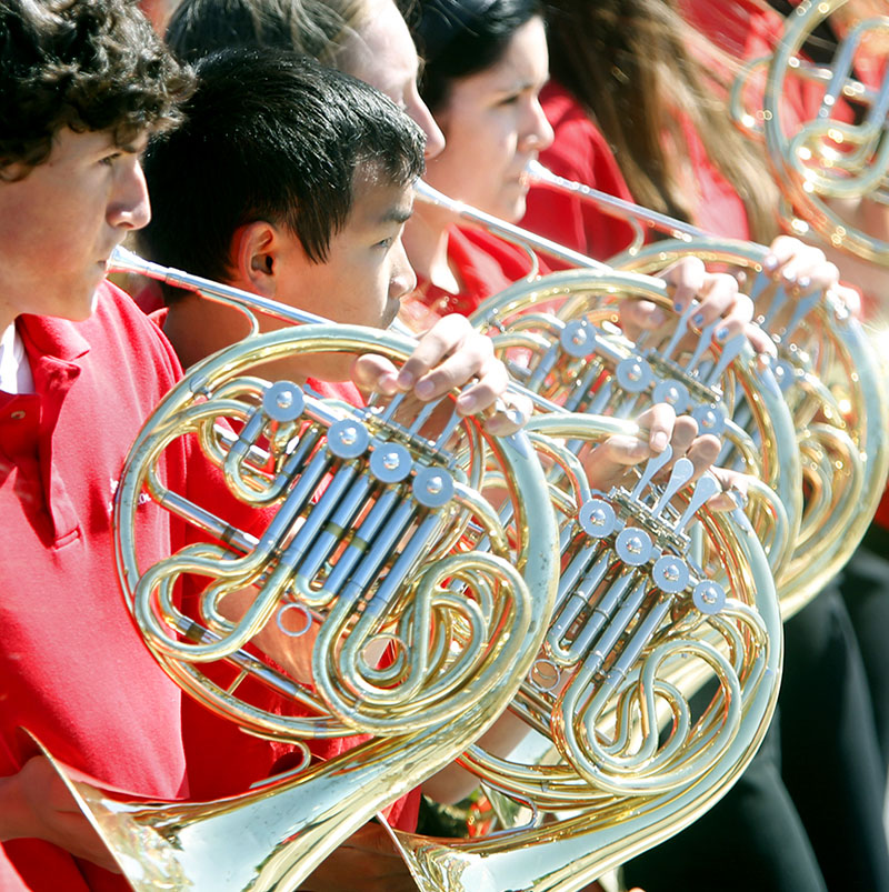 Members of the Scarborough High School band perform in the Scarborough Memorial Day parade and ceremony Monday morning.