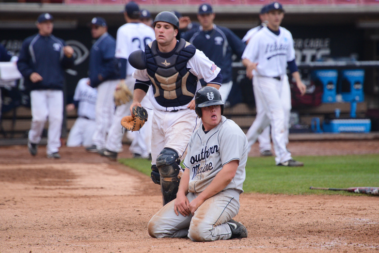 Matt Verrier gets thrown out at home in the 11th inning on a single by Anthony Pisani. Baseball Portland Press Herald University of Southern Maine5
