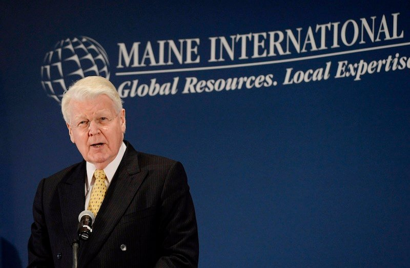 Icelandic President Olafur Ragnar Grimsson speaks at the International Trade & Investment Awards Luncheon on Friday, May 31, 2013 in South Portland.