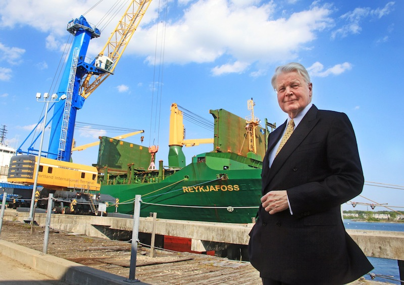 Olafur Ragnar Grimsson, president of Iceland, stands in front of the container ship Reykjafoss at the Marine Terminal on Friday, May 31, 2013 in Portland.