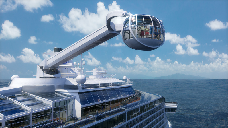 The Quantum of the Seas cruise ship includes The North Star, an observation capsule on a movable arm that will offer a bird's-eye view from 300 feet above the water.