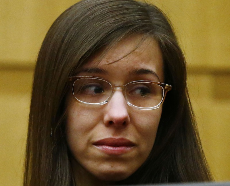 Jodi Arias looks at her family after being found of guilty of first-degree murder in the gruesome killing of her one-time boyfriend, Travis Alexander, in their suburban Phoenix home, Wednesday, May 8, 2013, in Phoenix. (AP Photo/The Arizona Republic, Rob Schumacher, Pool)