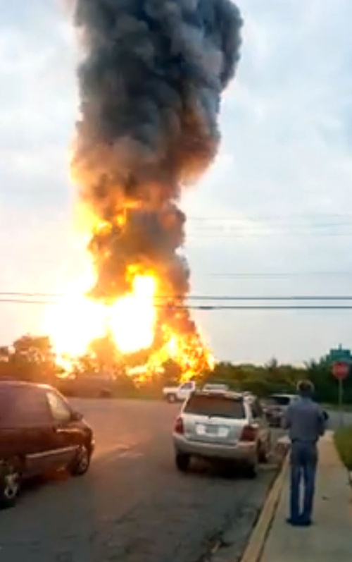 This still taken from video provided by James LeBrun shows an explosion outside Baltimore on Tuesday.