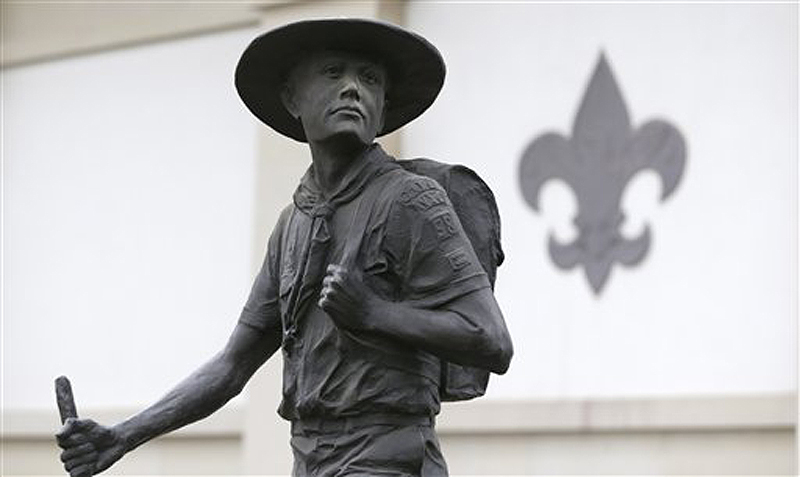 A statue of a Boy Scout stands in front of the National Scouting Museum in Irving, Texas. Parents and leaders of Boy Scouts in Maine had differing views Thursday on Boy Scouts of America's decision to end a longtime ban on gay youths.