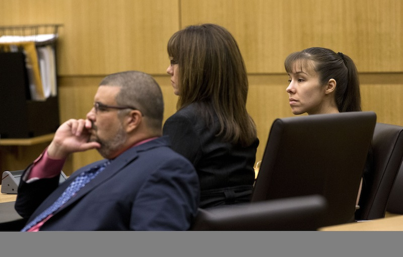 Jodi Arias, right, and her defense attorneys Jennifer Wilmott and Kirk Murmi, left, listen as Judge Sherry Stephens urges the jury to continue deliberating after the jury delivered a message that they are deadlocked on Wednesday, May 22, 2013 during the penalty phase of her murder trial at Maricopa County Superior Court in Phoenix. Arias was convicted of first-degree murder in the stabbing and shooting to death of Travis Alexander. (AP Photo/The Arizona Republic, Rob Schumacher, Pool)