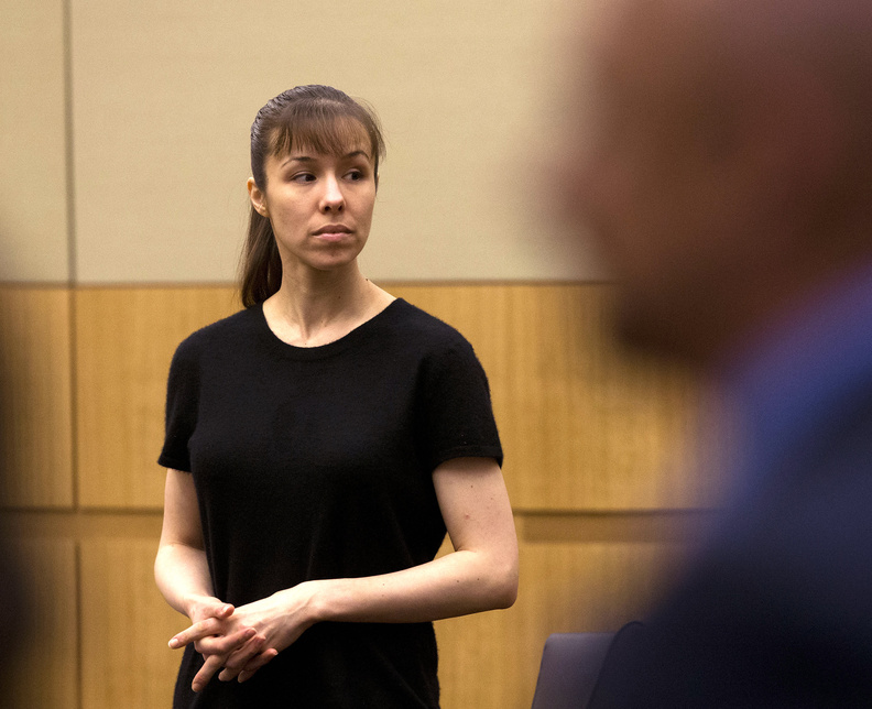 Jodi Arias stands as the jury enters the courtroom on Wednesday during the penalty phase of her murder trial at Maricopa County Superior Court in Phoenix.