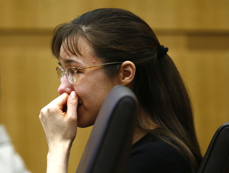 Jodi Arias cries as she listens to Steven Alexander, brother of murder victim Travis Alexander, speak to the jury Thursday during the penalty phase of her trial at Maricopa County Superior Court in Phoenix.