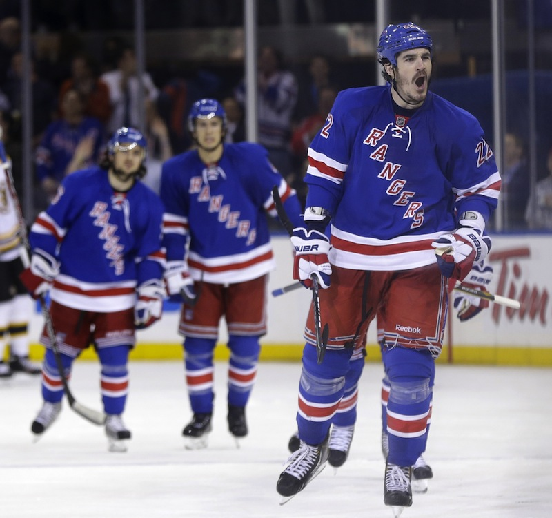 New York Rangers' Brian Boyle, right, reacts after scoring during the third period in Game 4 of the Eastern Conference semifinals against the Boston Bruins in the NHL hockey Stanley Cup playoffs in New York, Thursday, May 23, 2013, in New York. (AP Photo/Seth Wenig)