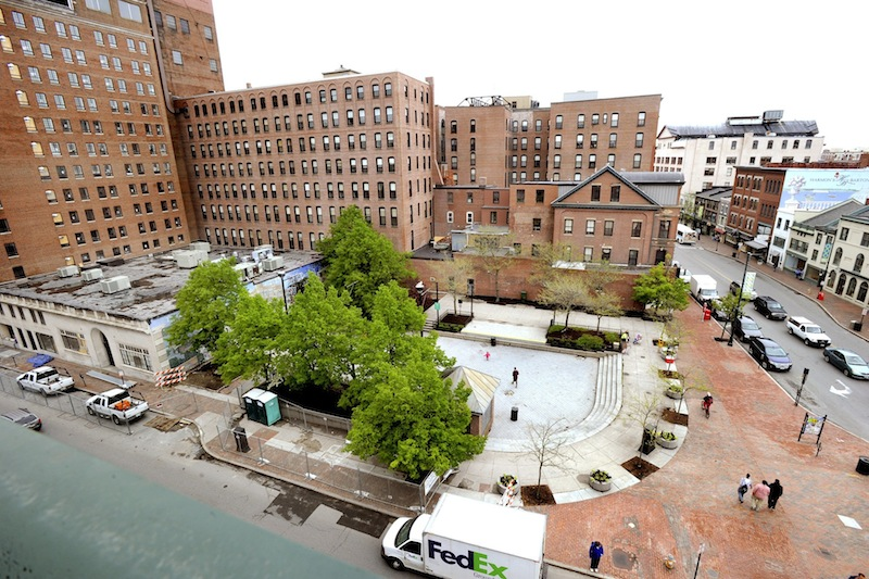 A 2013 aerial view of Congress Square Plaza.