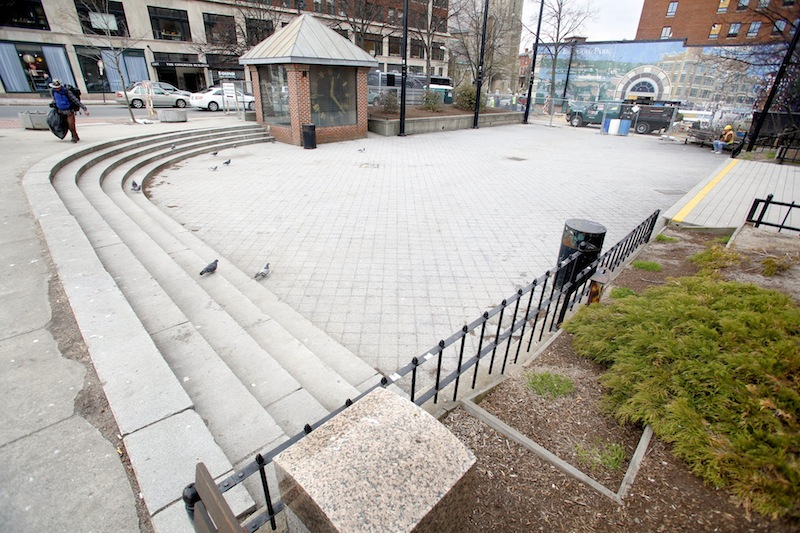 Congress Square Plaza in downtown Portland on April 18, 2013.