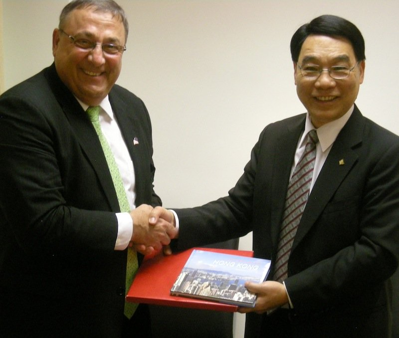 "This September 2012 file photo shows Gov. LePage on a trade mission in China meeting with an unnamed ""reputable Hong Kong University"" interested in developing relationships with Maine. LePage announced Friday, May 31, 2013 he and the Maine International Trade Center will lead a delegation of businesses and schools to Mexico and Colombia later this year."