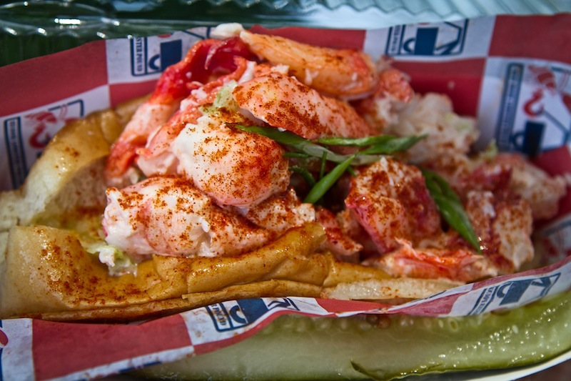 A fresh Maine Style lobster roll, fresh from The Red Hook Lobster Pound DC food truck at Farragut Square in Washington DC on a sunny Friday, May 10, 2013. food truck; DC; washington; Maine; lobster; new england; seafood