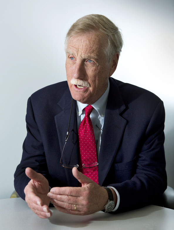 Sen. Angus King, I-Maine, speaks to a reporter during an interview with the Associated Press on Friday in Portland.