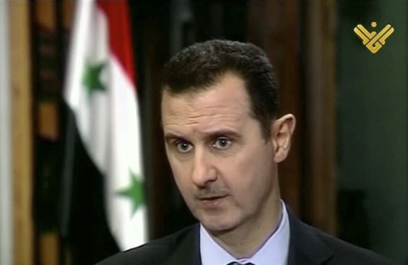 This image made from video shows Syrian President Bashar Assad during an interview broadcast on Al-Manar Television on Thursday.