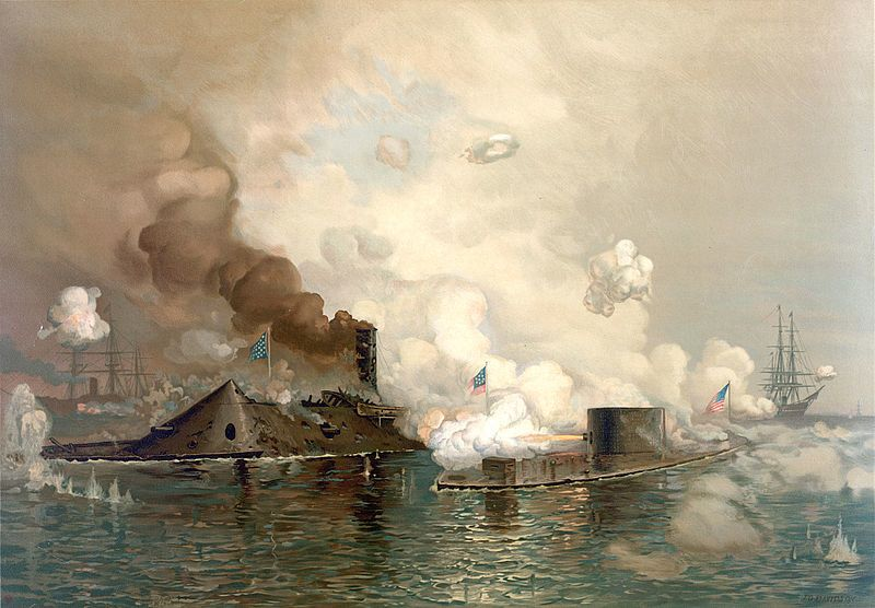USS Monitor, right, in action in March 1862