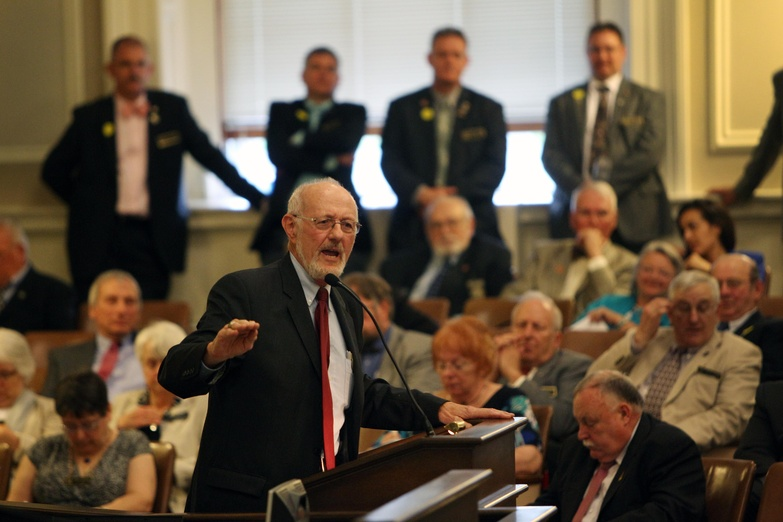 New Hampshire state Rep. David Hess, R-Hooksett, speaks against a bill to legalize casino gambling Wednesday at the Statehouse in Concord, N.H. The House killed the bill.