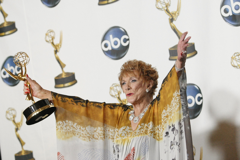"Jeanne Cooper poses with her award for outstanding lead actress in a drama series for her work on ""The Young and the Restless"" at the 35th annual Daytime Emmy Awards in 2008."