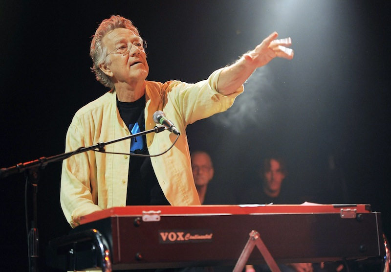 In this Aug. 16, 2012 file photo, Ray Manzarek of The Doors performs at the Sunset Strip Music Festival launch party celebrating The Doors at the House of Blues in West Hollywood, Calif. Manzarek, the keyboardist who was a founding member of The Doors, has died at 74. Publicist Heidi Robinson-Fitzgerald says in a news release that Manzarek died Monday, May 20, 2013, at the RoMed Clinic in Rosenheim, Germany, surrounded by his family. (Photo by Chris Pizzello/Invision/AP, File)