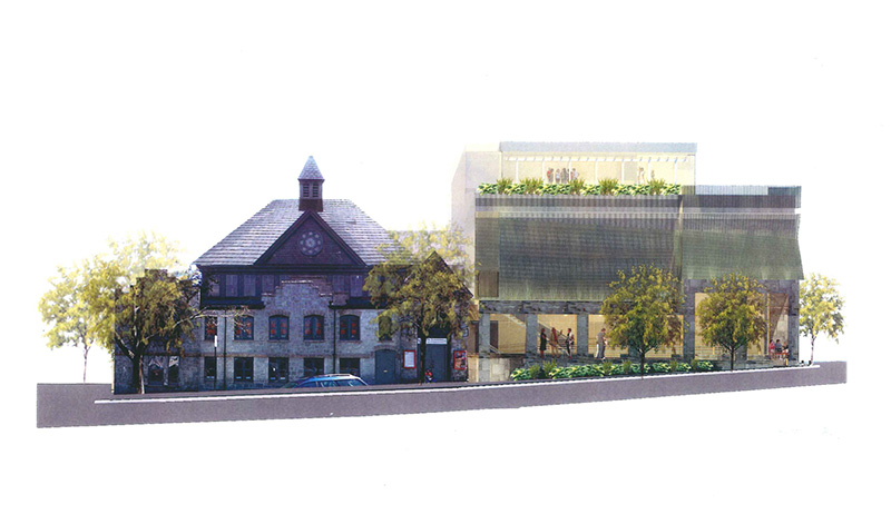 View from Congress Street of proposed performance center, at right, and existing St. Lawrence Church structure at left. Artist's rendering.