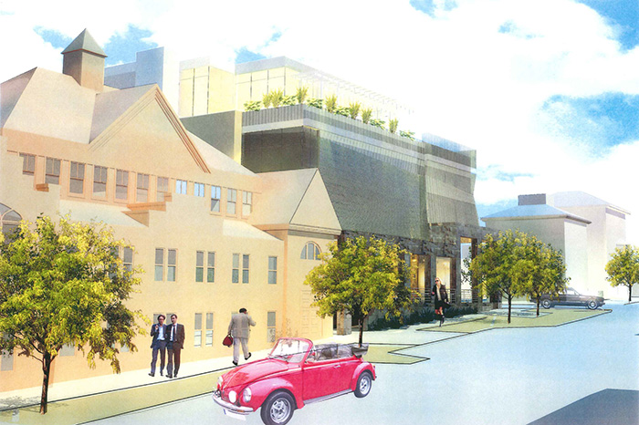 View of proposed performance center with existing St. Lawrence structure in foreground. Artist's rendering.