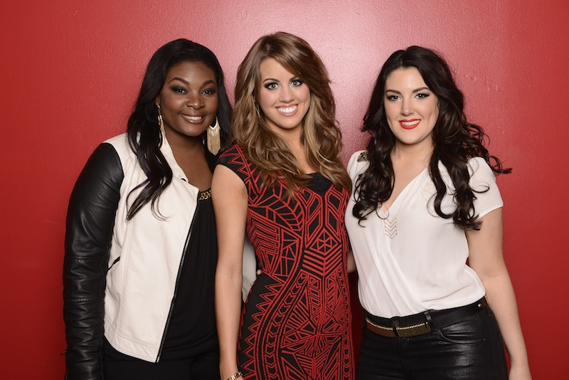 This May 2, 2013 photo released by Fox shows, from left, Candice Glover, Angie Miller and Kree Harrison, finalists in the singing competition series