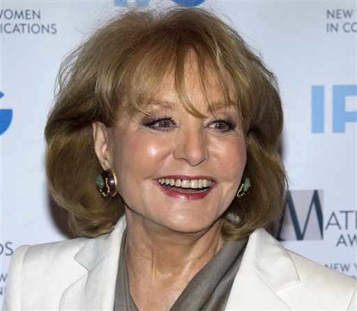 "Veteran ABC newswoman Barbara Walters arrives to the Matrix Awards in New York on April 23, 2012. Walters is set to announce Monday morning on ""The View"" that she will retire from TV journalism during the summer of 2014. (AP file photo/Charles Sykes)"