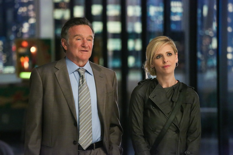 "This publicity image released by CBS shows Robin Williams, left, and Sarah Michelle Gellar in a scene from the pilot episode of ""The Crazy Ones,"" a new CBS comedy premiering in the fall of 2013. (AP Photo/CBS, Richard Cartwright) EPISODIC"
