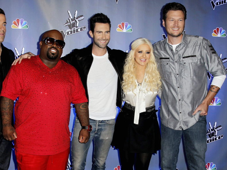 Cee Lo Green, left, Adam Levine, Blake Shelton and Christina Aguilera will be back together on