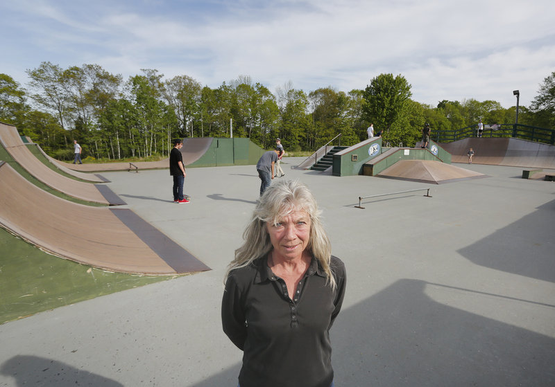 There will be no supervision at Windham Skate Park starting July 1. In this Tuesday, May 28, 2013 photo, Lynn Bucknell, the skate park manager, who oversees a staff of five who help operate the park.