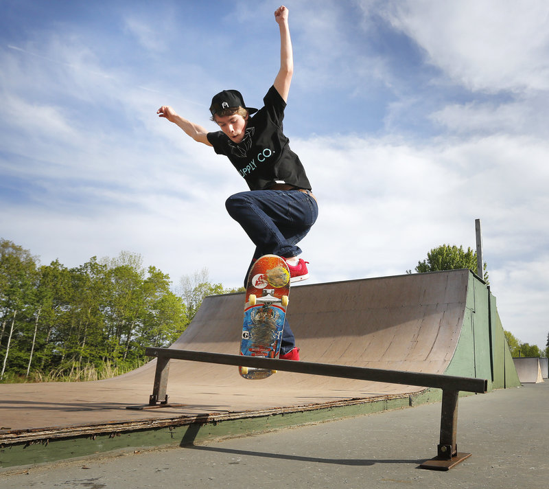 Chase Carroll, 15, of Scarborough does tricks on a skateboard at Windham Skate Park on Tuesday, May 28, 2013. There will be no supervision at the park, starting July 1. The Town Council decided Tuesday to cut $17,000 to fund staffing at the park.